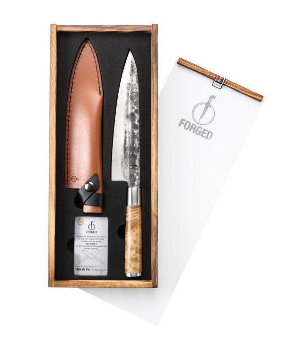 Forged VG10 kuchařský nůž 20,5 cm s koženým pouzdrem